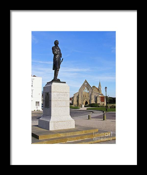 Admiral Lord Nelson Framed Print featuring the photograph Admiral Lord Nelson And Royal Garrison Church by Terri Waters