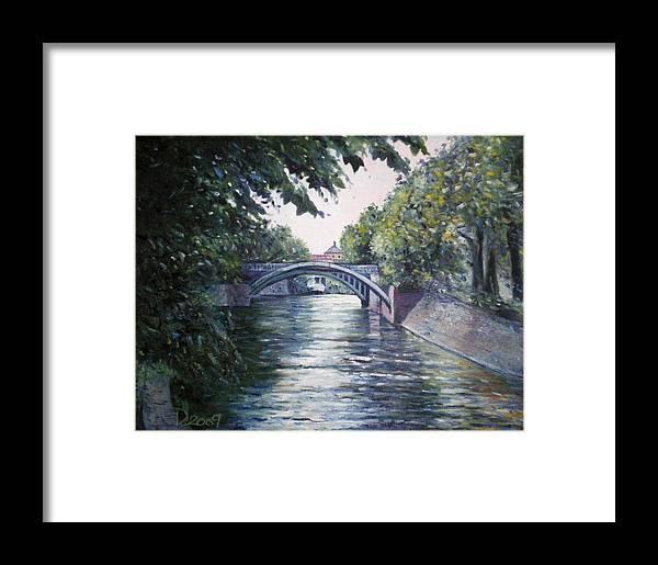 Landscapes Framed Print featuring the painting Admiralsbrucke Bridge Kreuzberg-berlin 2009 by Enver Larney