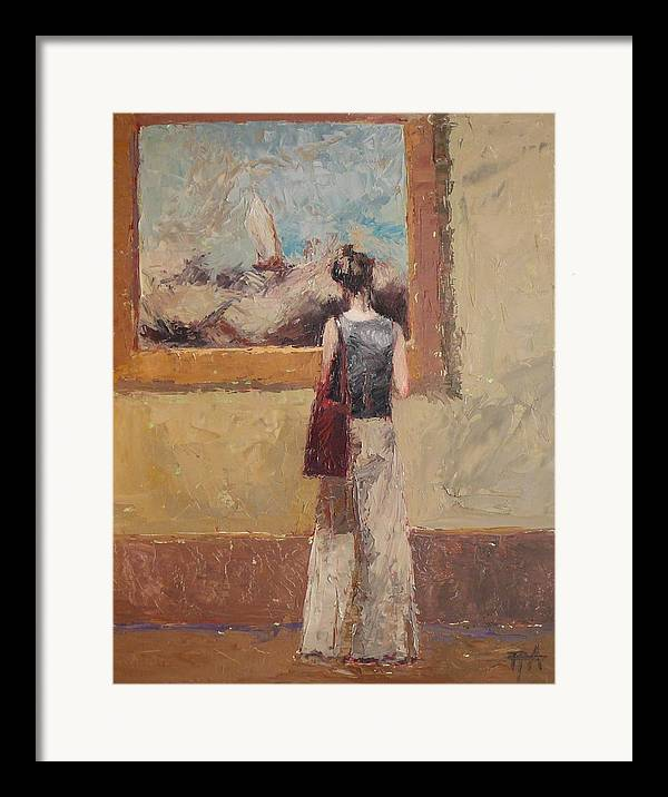 Girl Framed Print featuring the painting Admiring Turner by Irena Jablonski