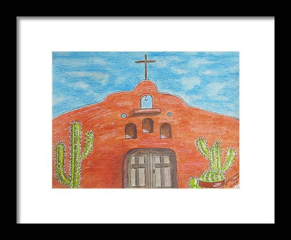 Adobe Framed Print featuring the painting Adobe Church And Cactus by Kathy Marrs Chandler