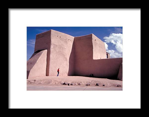 Adobe Framed Print featuring the photograph Adobe Church In Taos by Carl Purcell