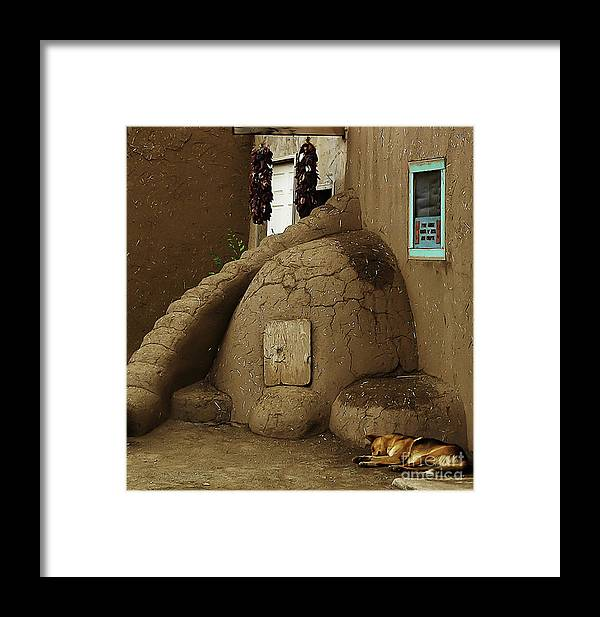 Oven Framed Print featuring the photograph Adobe Oven by Angela Wright