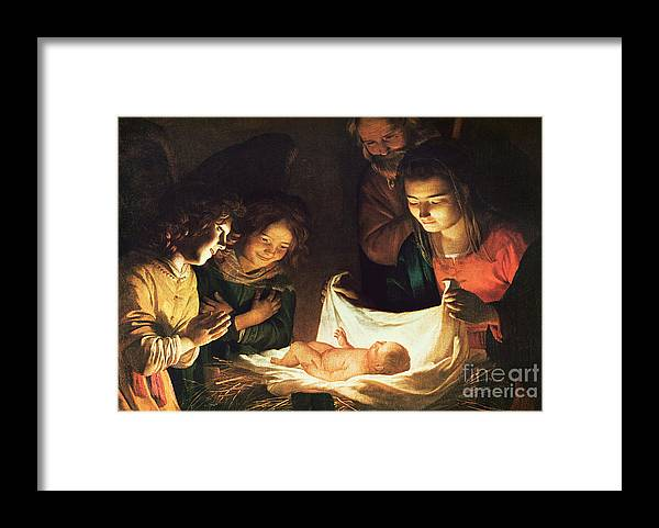 Adoration Of The Baby Framed Print featuring the painting Adoration Of The Baby by Gerrit van Honthorst