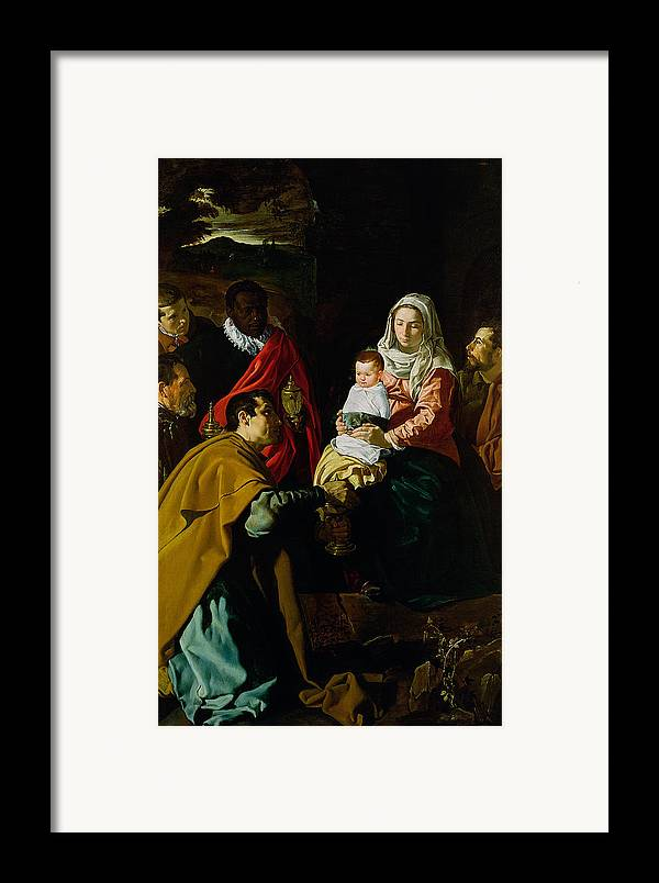 Adoration Framed Print featuring the painting Adoration Of The Kings by Diego rodriguez de silva y Velazquez
