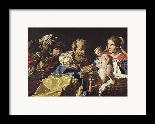 Adoration Framed Print featuring the painting Adoration Of The Magi by Matthias Stomer