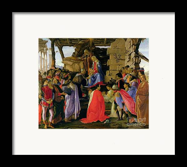 Adoration Framed Print featuring the painting Adoration Of The Magi by Sandro Botticelli