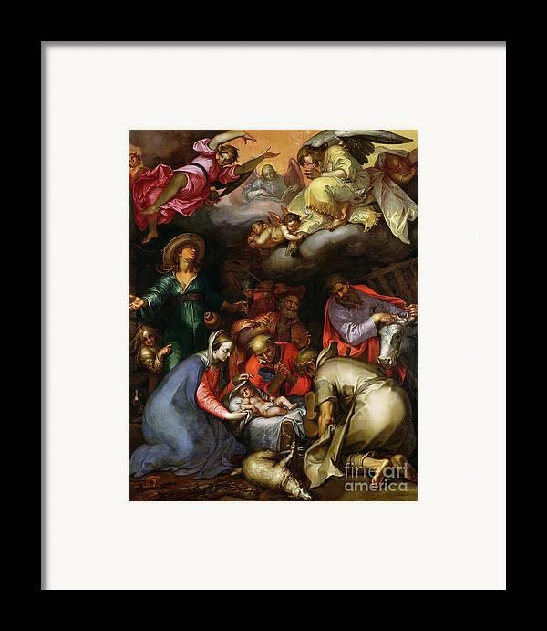 Adoration Of The Shepherds Framed Print featuring the painting Adoration Of The Shepherds by Abraham Bloemaert