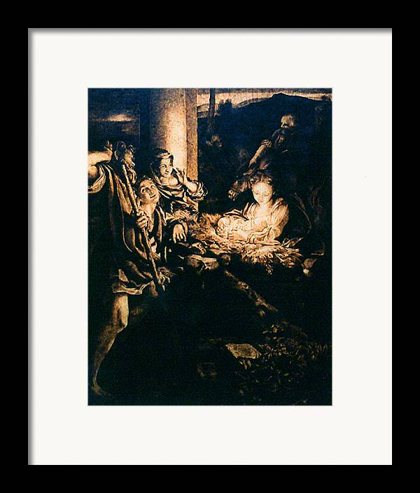 Dino Muradian Framed Print featuring the pyrography Adoration Of The Shepherds by Dino Muradian