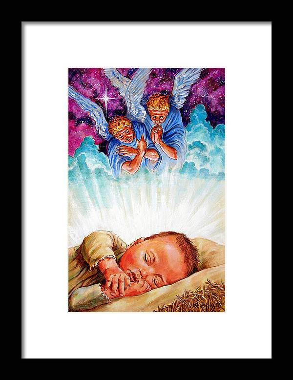 Baby Jesus Framed Print featuring the painting Adore Your Saviour by John Lautermilch