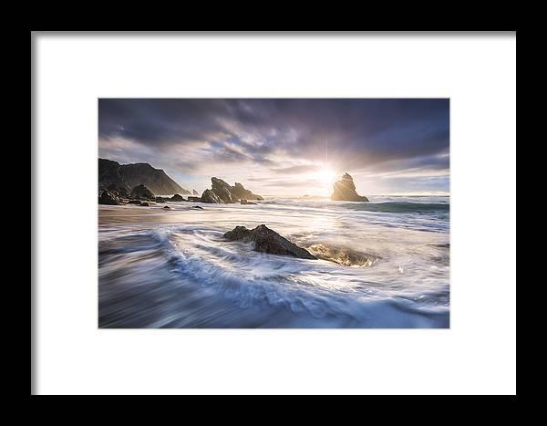 Lisbon Framed Print featuring the photograph Adraga Surf by Michael Breitung