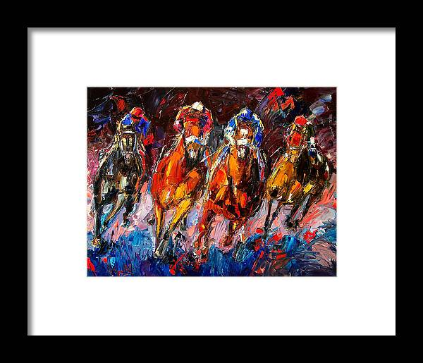 Horse Race Framed Print featuring the painting Adrenaline by Debra Hurd