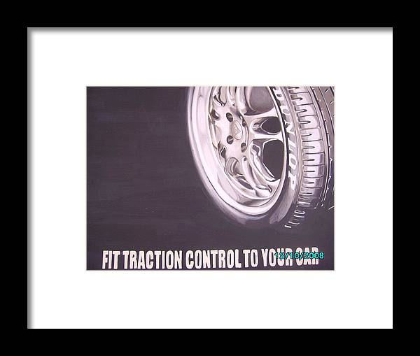 Wheel Framed Print featuring the digital art Adverts On Tyres by Olaoluwa Smith
