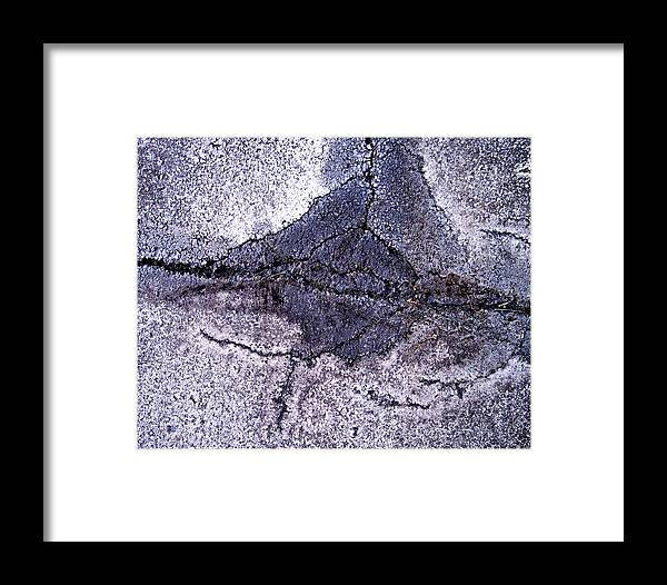 Abstract Obscure White Gray Black Modern Framed Print featuring the photograph Aerial Asphalt 5 by Anna Villarreal Garbis