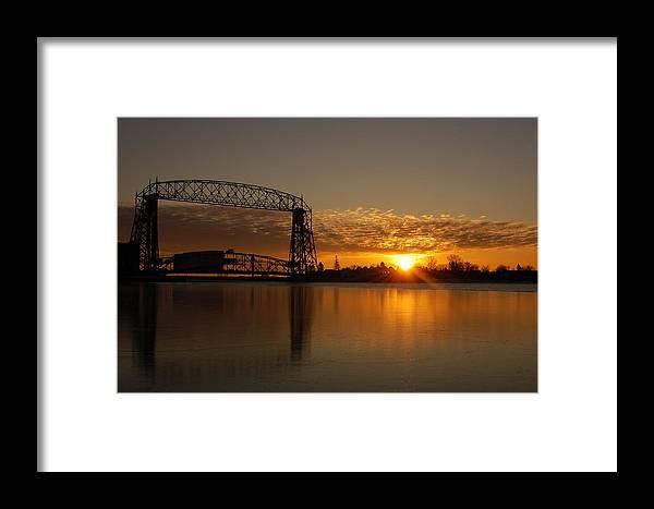 Bridge Framed Print featuring the photograph Aerial Bridge In Sunrise by Evia Nugrahani Koos