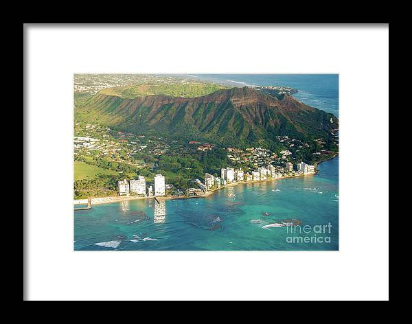 Aerial Framed Print featuring the photograph Aerial - Diamond Head Crater, Honolulu, Hawaii 934 by D Davila