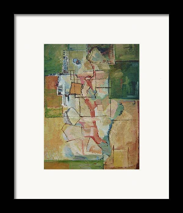 Abstract Art Framed Print featuring the painting Aerial by Ginger Concepcion