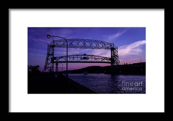 Lake Framed Print featuring the photograph Aerial Lift Bridge At Sundown by Deborah Klubertanz