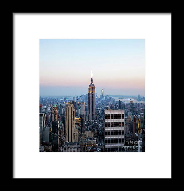 Dusk Framed Print featuring the photograph Aerial Night View Of Manhattan Skyline In New York by Antonio Gravante