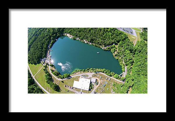 View Framed Print featuring the photograph Aerial Over Blue Stone Quarry In North Carolina by Alex Grichenko