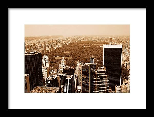 Central Park Framed Print featuring the photograph Aerial View Central Park by Allan Einhorn