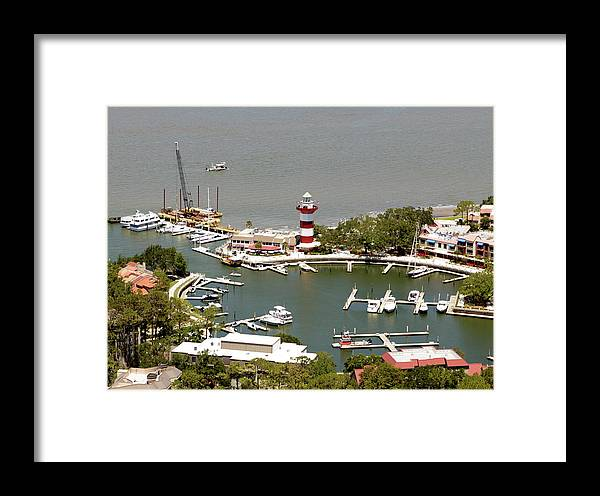 Aerial View Harbour Town Lighthouse In Hilton Head Island Framed Print featuring the photograph Aerial View Harbour Town Lighthouse In Hilton Head Island by Carol Highsmith