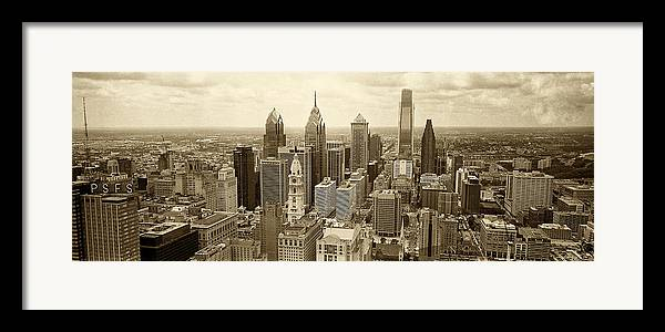 Philadelphia Framed Print featuring the photograph Aerial View Philadelphia Skyline Wth City Hall by Jack Paolini