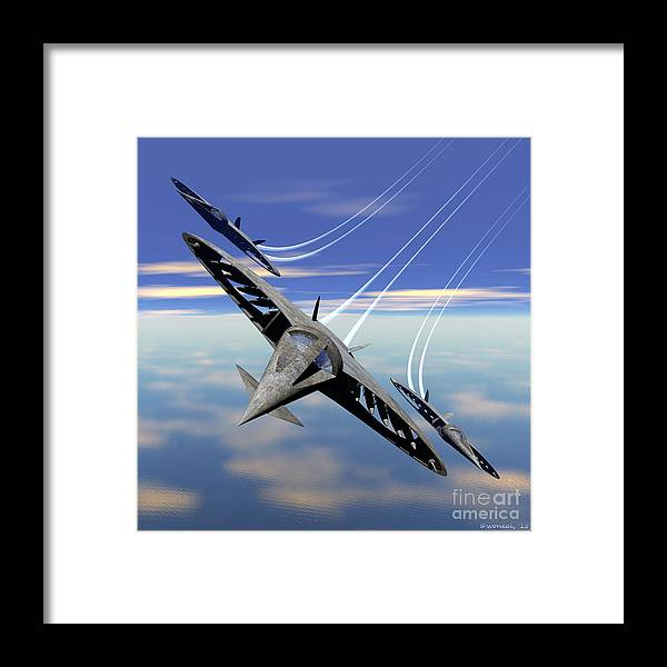 Science Fiction Framed Print featuring the digital art Aerobatics Over Water by Walter Oliver Neal
