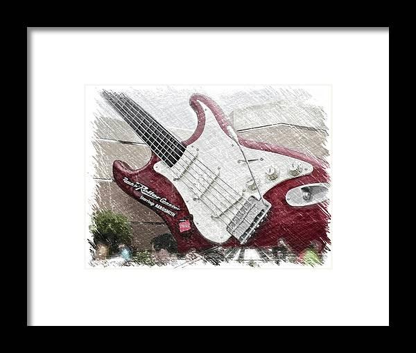 Music Framed Print featuring the mixed media Aerosmith Guitar Walt Disney World Pa 01 by Thomas Woolworth