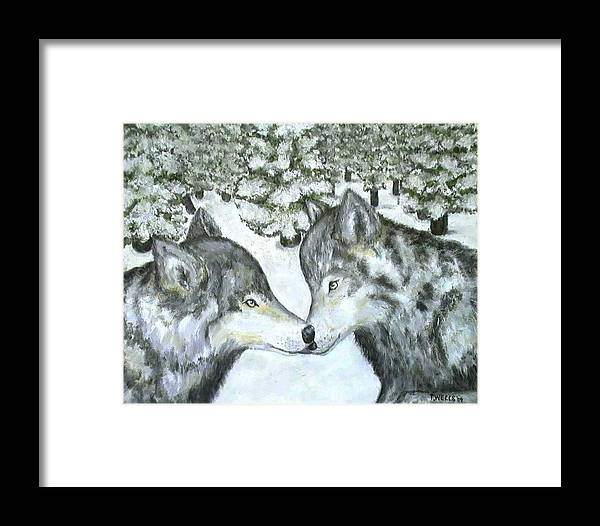 Winter Framed Print featuring the painting Affection In The Wild by Tanna Lee Wells