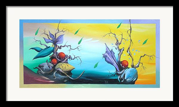Surreal Framed Print featuring the painting Affection by Zoltan Ducsai