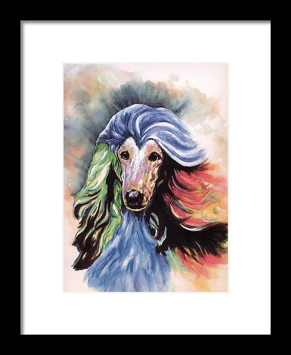 Afghan Hound Framed Print featuring the painting Afghan Storm by Kathleen Sepulveda