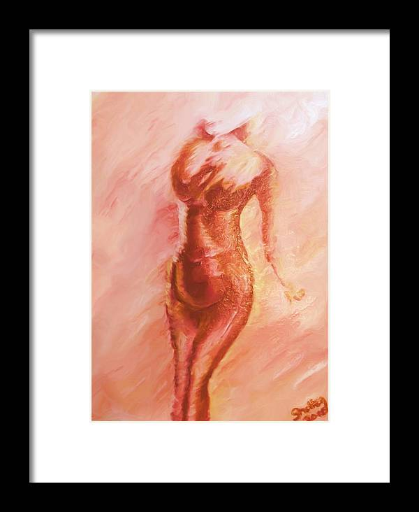 Nude Framed Print featuring the painting Aflame by Shelley Bain
