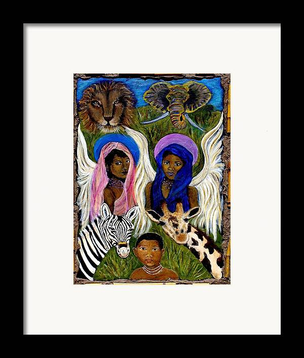 Angels Framed Print featuring the painting African Angels by The Art With A Heart By Charlotte Phillips