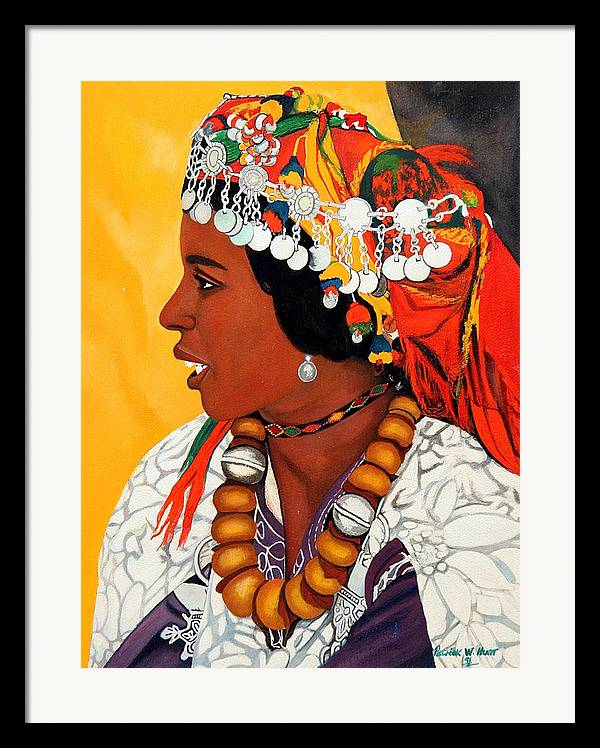 African American Art Framed Print featuring the painting African Beauty by Patrick Hunt