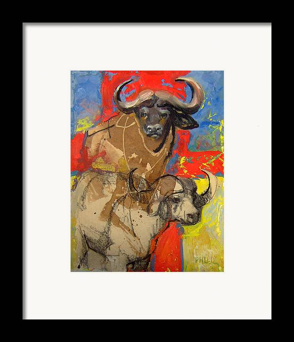 Africa Framed Print featuring the mixed media African Buffalo by Michelle Philip