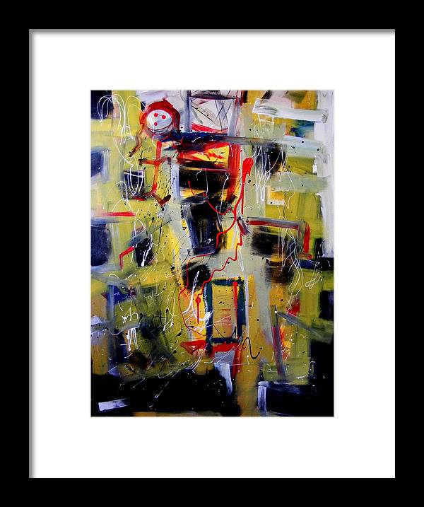 Abstract Framed Print featuring the painting African Doll With Totems by Peter Bethanis