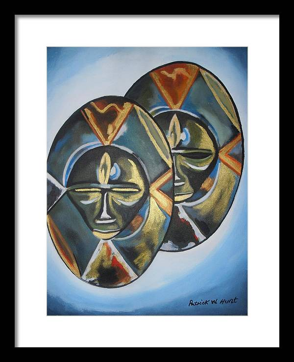 African Art Framed Print featuring the painting African Double Mask by Patrick Hunt