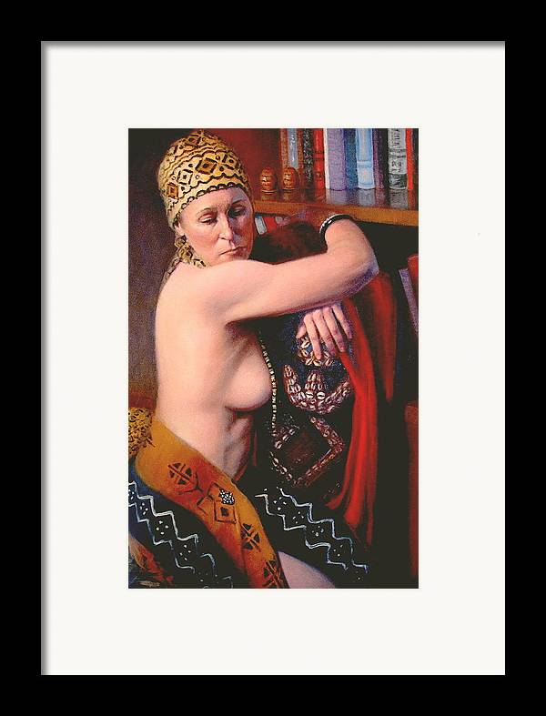 Realism Framed Print featuring the painting African Drum 3 by Donelli DiMaria