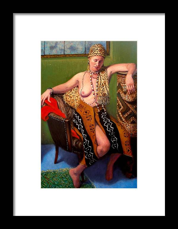 Realism Framed Print featuring the painting African Drum 4 by Donelli DiMaria