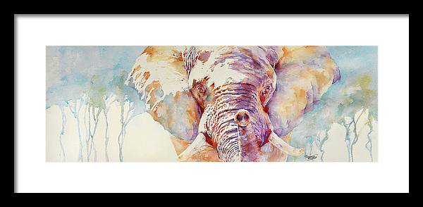 Elephant Framed Print featuring the painting African Elephant _ The Governor by Stephie Butler