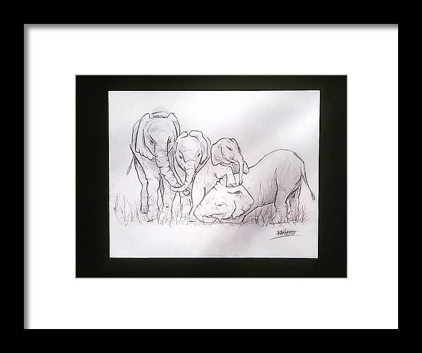 Africa Framed Print featuring the drawing African Elephant Family by Kariz Xo