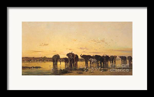 African Elephants (oil On Canvas) By Charles Emile De Tournemine (1812-72) Framed Print featuring the painting African Elephants by Charles Emile de Tournemine