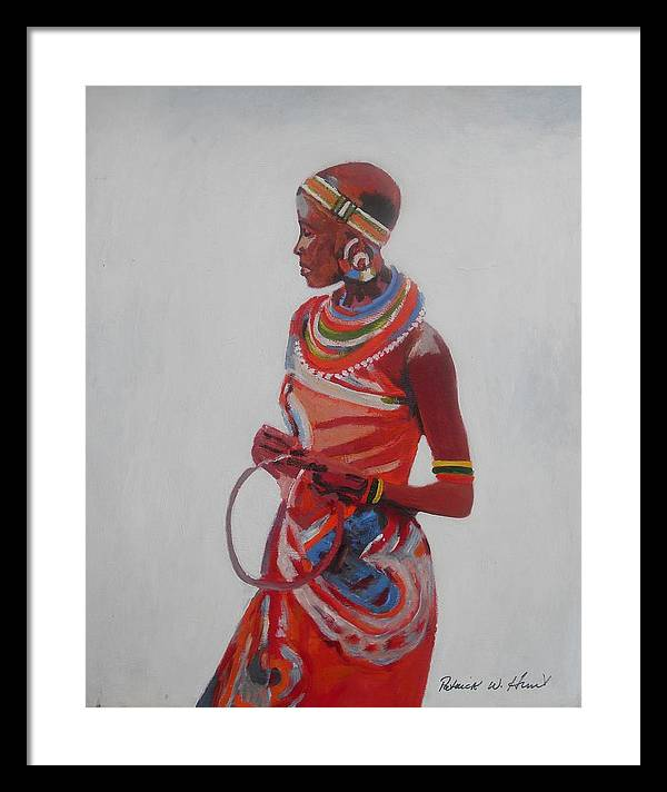 African American Art Framed Print featuring the painting African Lady In Red by Patrick Hunt