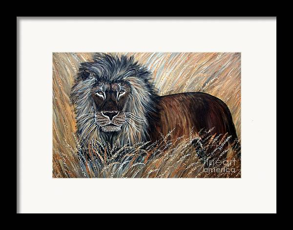 Lion Framed Print featuring the painting African Lion 2 by Nick Gustafson