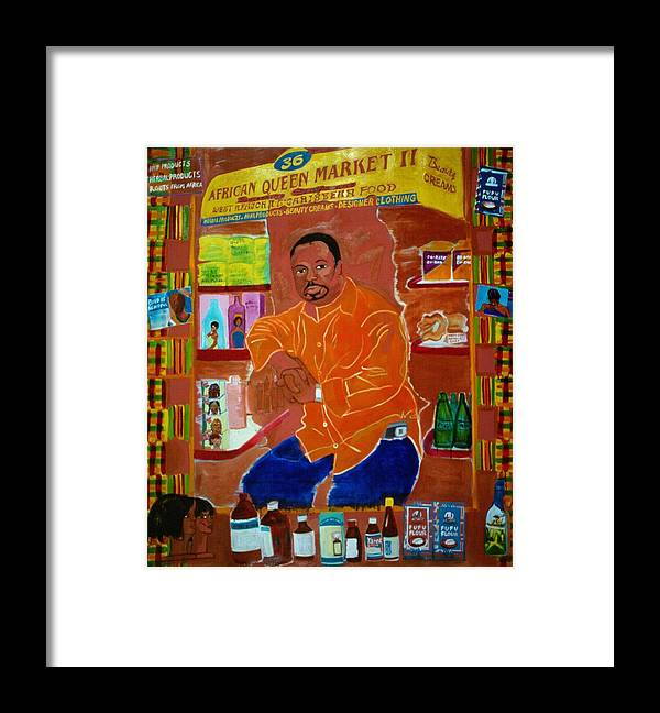 Newkirk Plaza Vendor Framed Print featuring the painting African Queen Market by Nina Talbot