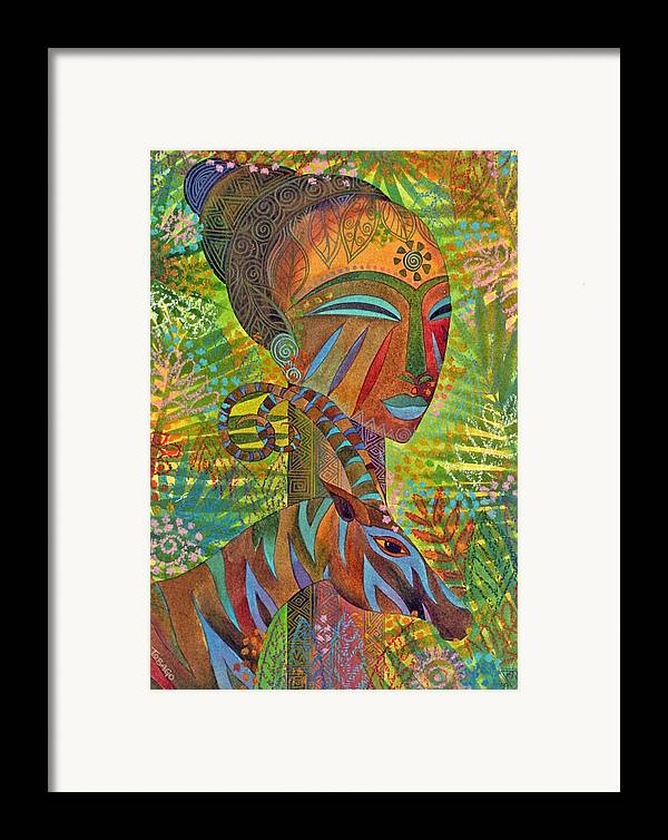 Exotic Jungle African Mask Tropical Antelope Framed Print featuring the painting African Queens by Jennifer Baird