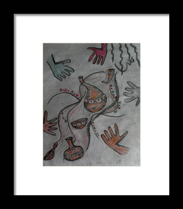 African Framed Print featuring the drawing African Quest by John Ngaruiya