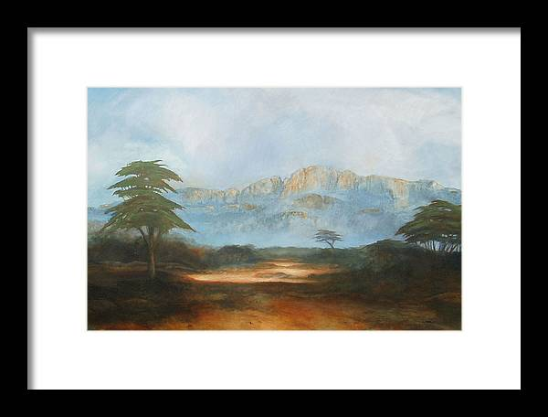 Landscape Framed Print featuring the painting African Riverbed by William Stanton