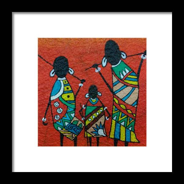 Acrylic Framed Print featuring the painting African Safari by Divya Singh