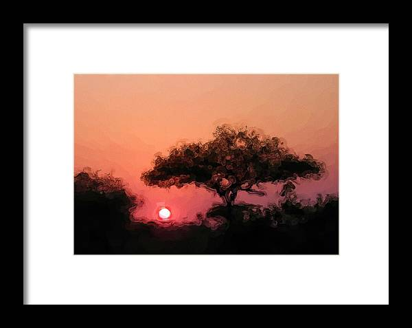 Digital Photography Framed Print featuring the photograph African Sunset by David Lane